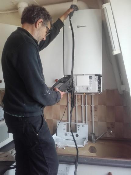 Contrôle de combustion et entretien chaudière gaz condensation ELM Leblanc La Garenne Colombes 92